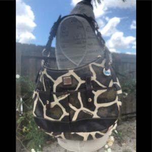 Vintage leather giraffe print series saddle bag